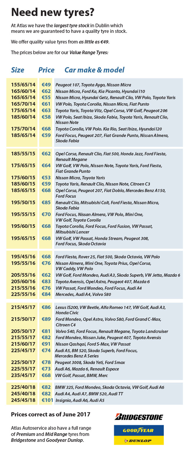 Tyre Prices Atlas Autoservice And Tyres - Audi a series price list